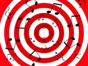 black_music_notes_on_a_radial_white_and_red_background